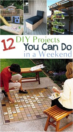 DIY Projects You can Do in a Weekend DIY projects, outdoor projects, outdoor living, DIY outdoor, po Backyard Games, Backyard Projects, Outdoor Projects, Backyard Ideas, Giant Outdoor Games, Lawn Games, Landscaping Ideas, Weekend Projects, Diy Projects To Try