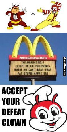 Jollibee Vs Mcdonalds - #funny, #lol, #fun, #humor, #comics, #meme, #gag, #box, #lolpics, #funnypics, #GagsBox, Really Funny Memes, Stupid Funny Memes, Funny Relatable Memes, Haha Funny, Filipino Humor, Filipino Quotes, Memes Pinoy, Memes Tagalog, Im Fine Quotes