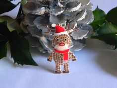 Reindeer Rhinestone Rudolph Pendant with Santa Hat and Scarf for Necklace Key Chain Zipper Pull Christmas Jewelry Holiday Ornament Charm by HouseofHairDecor on Etsy
