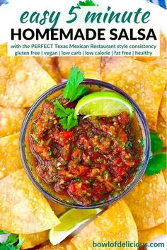 This easy homemade salsa recipe is a Texas restaurant-style red salsa that's bursting with fresh flavor and takes 5 minutes to make! It has that perfect consistency and at only 25 calories per serving it's a healthy way to add flavor to tacos, burritos, or dip tortilla chips into. Real Food Recipes, Mexican Food Recipes, Ethnic Recipes, Vegan Recipes, Easy Homemade Salsa, Texas Salsa Recipe, Texas Restaurant, Canning Whole Tomatoes, Tortilla Chips
