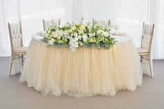 your perfect event! Bride Groom Table, Bridal Table, Wedding Flowers, Wedding Dresses, Cake Table, Your Perfect, Wedding Reception, Tulle, Flower Girl Dresses