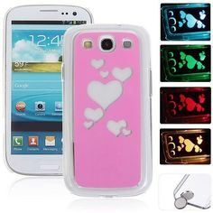 Pink Hearts Flasher LED Color Changed Protector Case for Samsung Galaxy S3 i9300