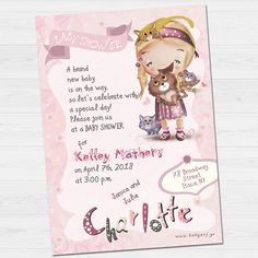 Cute Charlotte invitation by babyartshop on Etsy Lets Celebrate, Special Day, Thank You Cards, New Baby Products, Charlotte, Clip Art, Baby Shower, Invitations, Digital