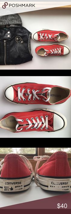 Women's red Converse All Star shoes Women's Converse All-Star shoes, in red and white. They are in good condition but have a couple barely noticeable spots, and some of the writing on the heel is worn off.  Bundle to save! Converse All Star Shoes