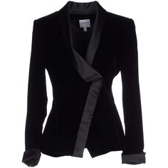 Armani Collezioni Blazer ($650) ❤ liked on Polyvore featuring outerwear, jackets, blazers, black, double breasted blazer, black double breasted jacket, collar jacket, black jacket and velvet blazer