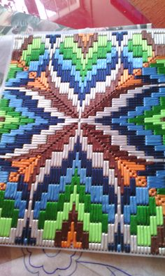 Bargello Needlepoint Florentine Long stitch Original handmade Peacock Tubes Design Green Moss Lime Yellow White Textile Art, Embroidery - Her Crochet Motifs Bargello, Broderie Bargello, Bargello Patterns, Bargello Needlepoint, Bargello Quilts, Needlepoint Patterns, Cross Stitch Patterns, Plastic Canvas Stitches, Plastic Canvas Crafts