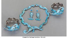A MARGOT DE TAXCO MEXICAN SILVER AND ENAMEL JEWELRY SET . | Lot #68406 | Heritage Auctions