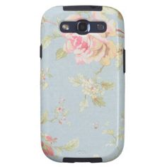 vintage rose pattern shabby chic style blue samsung galaxy SIII case