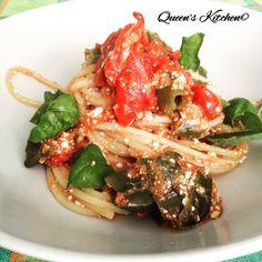 spaghetti al pomodoro con friggitelli, basilico e ricotta salata  check my blog! http://queenskitchenover-blogcom.over-blog.com/ follow Queen's Kitchen on Facebook #queenskitchen   #Recipeoftheday