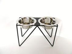 Modern Dog Feeder Pet Feeding Bowl Holder Metal by baconsquarefarm