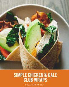 Kale Chicken Club Wraps // kale recipe
