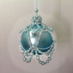Hand beaded Christmas ornament cover/baby blue ornament/blue Christmas/crowned/gift for new mom/baby boy Christmas/ready for gifting~ by ElegantPerle on Etsy
