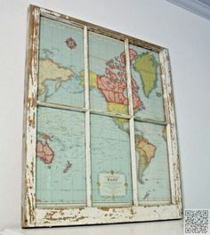 3. An Old #Window + an Old Map - So Cool! #Check out These 22 Ways to Use Old Maps ... → DIY #Smith