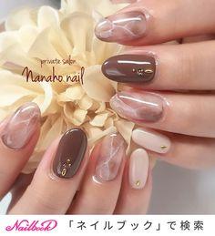 Autumn / Hand / Marble / Medium / Beige Nail art by Sumiyoko Nanaho ☆ nail (Yao city, book - - Asian Nail Art, Asian Nails, Korean Nail Art, Beige Nail Art, Beige Nails, Hair And Nails, My Nails, Elegant Nail Art, Nagellack Design