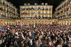 Crowd gathered in Constitution Square for the Tamborrada, San Sebastian