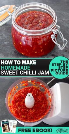 The Best Sweet Chilli Jam This amazing homemade jam recipe makes a wonderful homemade gift! Being a savoury jam recipe, this sweet chilli jam is perfect for your cheese board at Christmas! Jelly Recipes, Jam Recipes, Canning Recipes, Sauce Recipes, Recipies, Chilli Jam, Sweet Chilli, Chilli Chutney Recipes, Antipasto