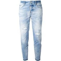 DSQUARED2 'Linda' jeans ($425) ❤ liked on Polyvore featuring jeans, pants, bottoms, pantalones, destruction jeans, cropped jeans, blue ripped jeans, blue jeans and destroyed cropped jeans