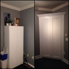Before/After on a corner unit Pantry I made.