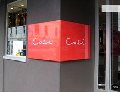 Back lit signage, custom, restaurant signage, folded acrylic