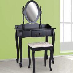 Schminktisch Mit Spiegel Und Hocker In Schwarz | Dressing Table With Stool  In Black | @