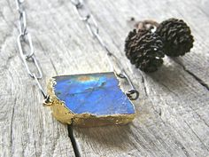 Labradorite Rough Cut Slab and Large Link Sterling Silver Chain Necklace, Extra Long Mixed Metals Gemstone Specimen Necklace
