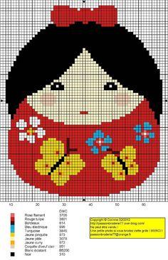 Free Japanese Girl Cross Stitch Chart Pattern