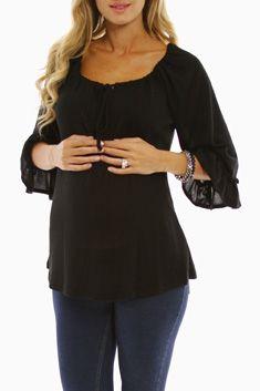 Black Flowy Maternity Top