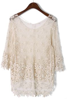 Apricot Mid Sleeve Crochet Mesh Lace Top US$22.33