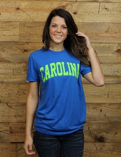 Show your Carolina love in the cool neon blue and lime tee! Go South Carolina!!