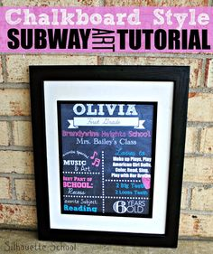 Chalkboard Style Subway Art Tutorial using picmonkey.com and Silhouette