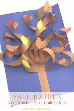 This constructions paper tree is a fun construction paper craft. Create it all seasons by just switching up the fall leaves for blossoms, green leafs, apples, or leave them bare.A fall construction paper tree with a twist. This fun autumn tree is a g Fall Crafts For Kids, Paper Crafts For Kids, Holiday Crafts, Easy Crafts, Art For Kids, Arts And Crafts, Autumn Art Ideas For Kids, Fall Leaves Crafts, 3d Paper Crafts