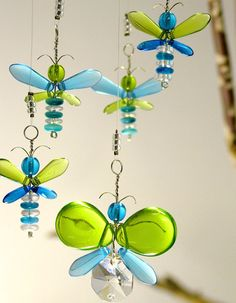 This sweet Green and Cyan Blue butterfly hanging mobile has been hand crafted from Swarovski crystal & glass beads, will charm people of all