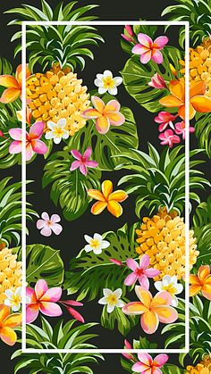 Hand-painted background tropical fruit h5 Flor Iphone Wallpaper, Vs Pink Wallpaper, Pineapple Wallpaper, Vintage Flowers Wallpaper, Tropical Wallpaper, Cute Wallpaper For Phone, Summer Wallpaper, Cute Patterns Wallpaper, Colorful Wallpaper