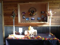 Fall in love bridal shower theme. Gift table.