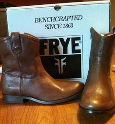 Frye Melissa Button Shortie Brown Boots $135