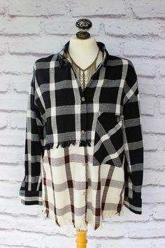 Frayed Color-Block Flannel