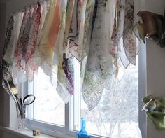 Sewing Curtain Home Again-Vintage Treasures: Repurposed Handkerchief Curtain Scarf Curtains, No Sew Curtains, Rod Pocket Curtains, Curtain Scarf Ideas, Martha Stewart Paint, Home Crafts, Fun Crafts, Sewing Projects, Diy Projects