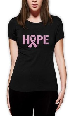 Hope Breast Cancer Awareness Pink Ribbon Women T-Shirt Support Custom Print Casual O-Neck Top Tee 100% Cotton