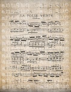 Antique French Music Sheet Distressed Edges Digital Download for Tea Towels, Papercrafts, Transfer, Pillows, etc Burlap No. 5531. $1.00, via Etsy.