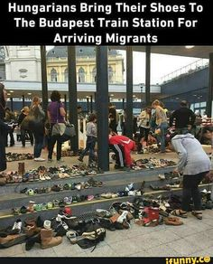 Hungarians bring their shoes to the Budapest train station for arriving migrants SEP 6 2015
