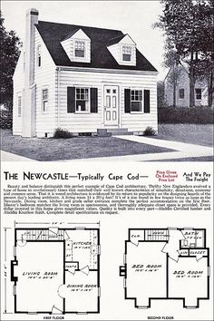 The New Castle Kit House Floor Plan Made By The Aladdin Company In Bay City Michigan In  Vintage Cape Cod