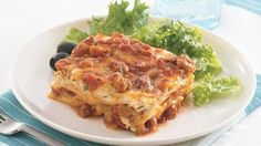 Here's an easy way to make meaty, cheesy lasagna. Use 2 cups thawed Make-Ahead Seasoned Ground Beef and Sausage to make it in a jiffy!