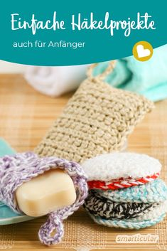 Spülschwamm, Seifensäckchen, Einkaufsnetz oder Weihnachtsschmuck – all das mus… Dishwashing sponge, soap bags, shopping net or Christmas decorations – you do not have to buy all this anymore! Here you will find the crochet tutorials for DIY. Easy Knitting Projects, Knitting For Beginners, Crochet Projects, Crochet Tutorials, Beginner Crochet, Knitting Ideas, Sewing Tutorials, Knitting Patterns, Crochet Patterns
