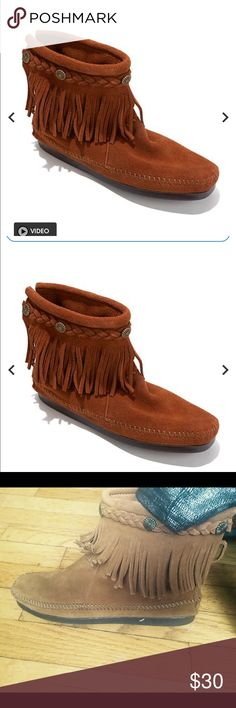 Minnetonka Suede Fringe Minnesota suede fringe Back zip concha ankle boogie Shoes Ankle Boots & Booties