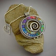 Sterling silver pendant necklace with rainbow by LizardsJewelry, $385.00