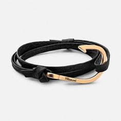 HOOK ON SHARK LEATHER BRACELET, 14K-GOLD