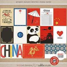 Project Mouse (World): China  Journal Cards by Britt-ish Design and Sahlin Studio - Perfect for your Project Life or Project Mouse Disney Epcot Album!