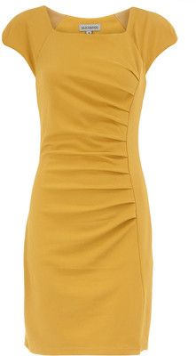 Dorothy Perkins mustard ruched dress...cuteness!!!
