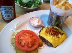 Americana burger with a side Caesar #thecheesecakefactory