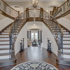 Hall Interior, Interior Design, Round House Plans, Toll Brothers, Staircase Design, Foyers, Railings, Transitional Style, Luxury Life